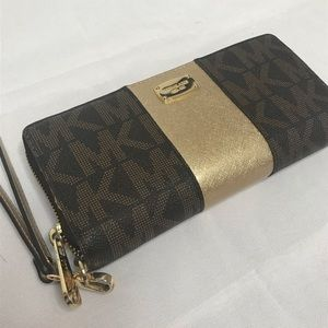MK Brown and gold wallet